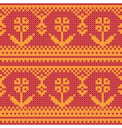 Cross stitch flower ornament vector