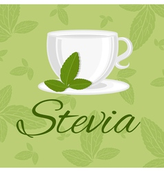 Cup with leaf stevia vector