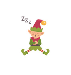 cute christmas elf sleeping after a hard day vector image
