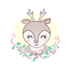 cute deer heads seamless pattern christmas vector image