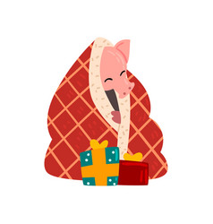 cute pig character wrapped in a plaid sitting on vector image