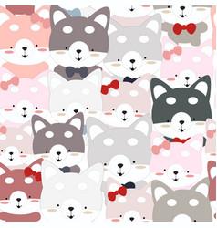 cute siberian husky dog seamless pattern vector image
