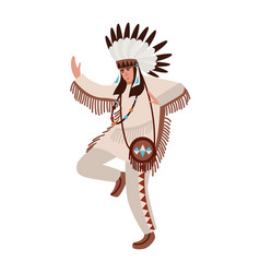 dancing american indian wearing ethnic costume and vector image