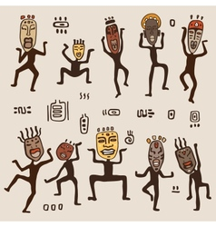 Dancing figures wearing African masks vector image