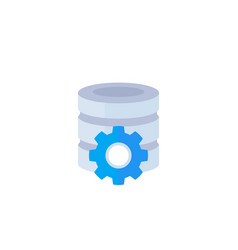Database maintenance icon flat vector
