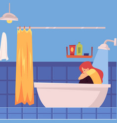 Depressed woman or girl clothed in bathtub vector