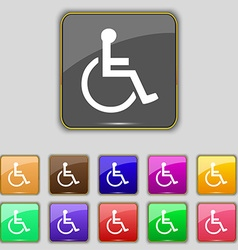 Disabled icon sign Set with eleven colored buttons vector