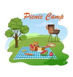 Family picnic on meadow cartoon concept vector