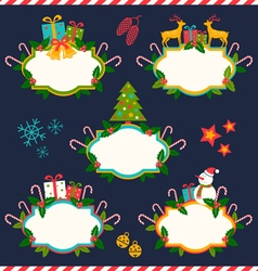 five christmas banners dark vector image