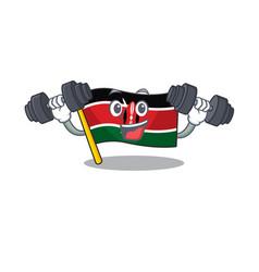 Flag kenya with bring barbell cartoon vector