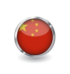 flag of china button with metal frame and shadow vector image