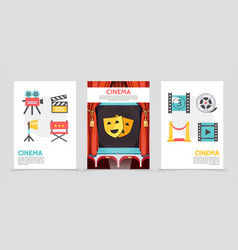 Flat cinema posters vector