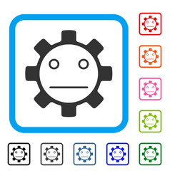Gear neutral smiley framed icon vector