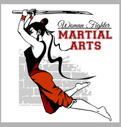 Girl with katana - mma woman fighter vector