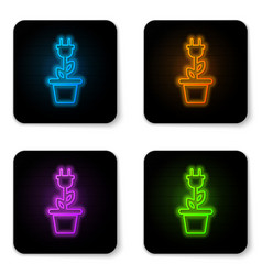 glowing neon electric saving plug in pot icon vector image