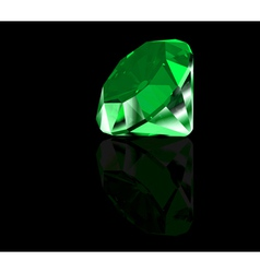 Green diamond on black background vector image