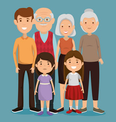 Group of family members avatars characters vector