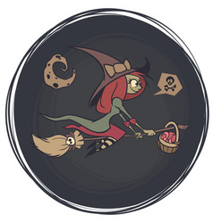 halloween cute witch flying on her broom on a vector image
