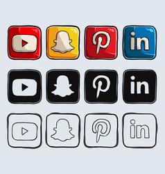 Hand drawn popular social media logos and icons vector