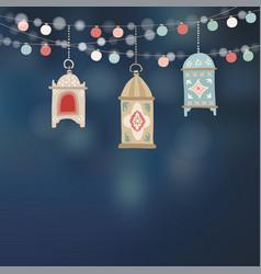 hanging hand drawn arab lanterns strings of vector image