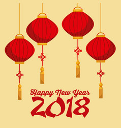 happy new year 2018 chinese calendar card with vector image
