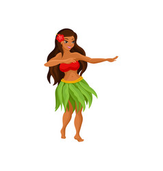 Hawaiian girl in grass skirt dancing and hibiscus vector
