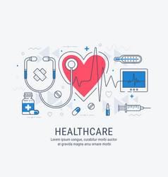 healthcare thin line vector image