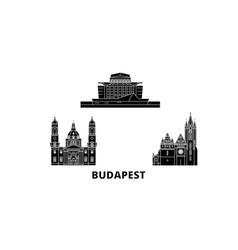 Hungary budapest city flat travel skyline set vector
