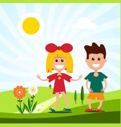 kids on meadow landscape with boy and girl vector image