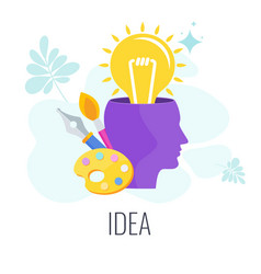 Lamp pops out human head trendy flat vector
