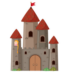large castle with princess vector image