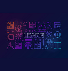 learn colored education horizontal vector image