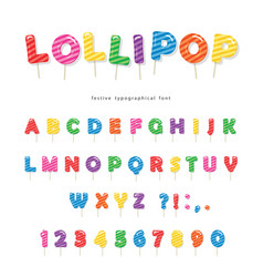 lollipop candy glossy font design colorful abc vector image