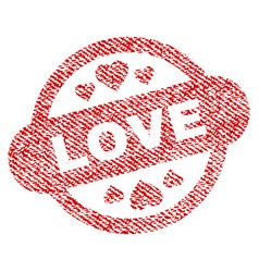 Love stamp seal fabric textured icon vector