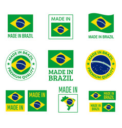 made in brazil labels set federative republic of vector image