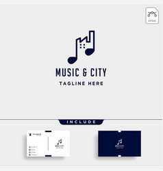 music urban city logo design line simple icon vector image