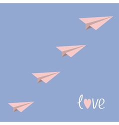 Origami paper plane flying in the sky Love card vector