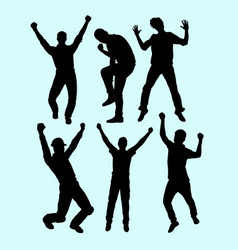 people winner and happy action silhouette vector image