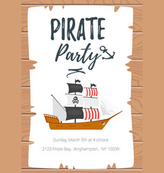 pirate kid party poster template vector image
