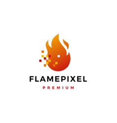 pixel flame fire digital logo icon vector image