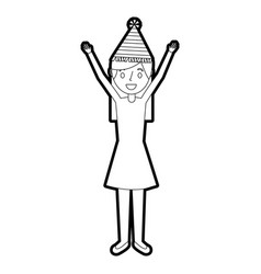 portrait woman happy with party hat and arms up vector image