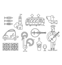 portugal icon set simple modern symbols vector image