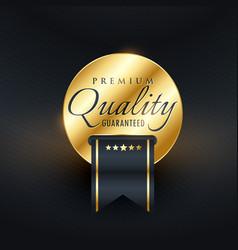 premium quality guarantee golden label design vector image