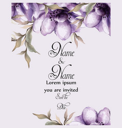 purple flowers card watercolor wedding vector image