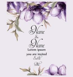 Purple flowers card watercolor wedding vector