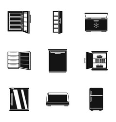 Refrigerator icons set simple style vector