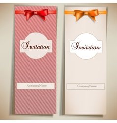 Retro card notes with ribbons Red and beige vector image
