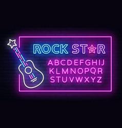 rock music neon sign neon frame rock star vector image