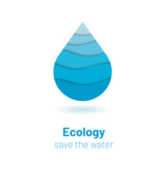 Save the water - ecology concept with paper cut vector