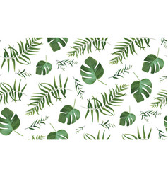 Seamless pattern with tropical palm tree leaves vector